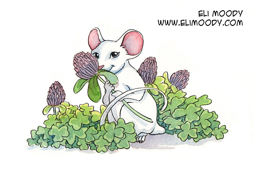 white mouse standing in a patch of clover, holding a clover blossom.