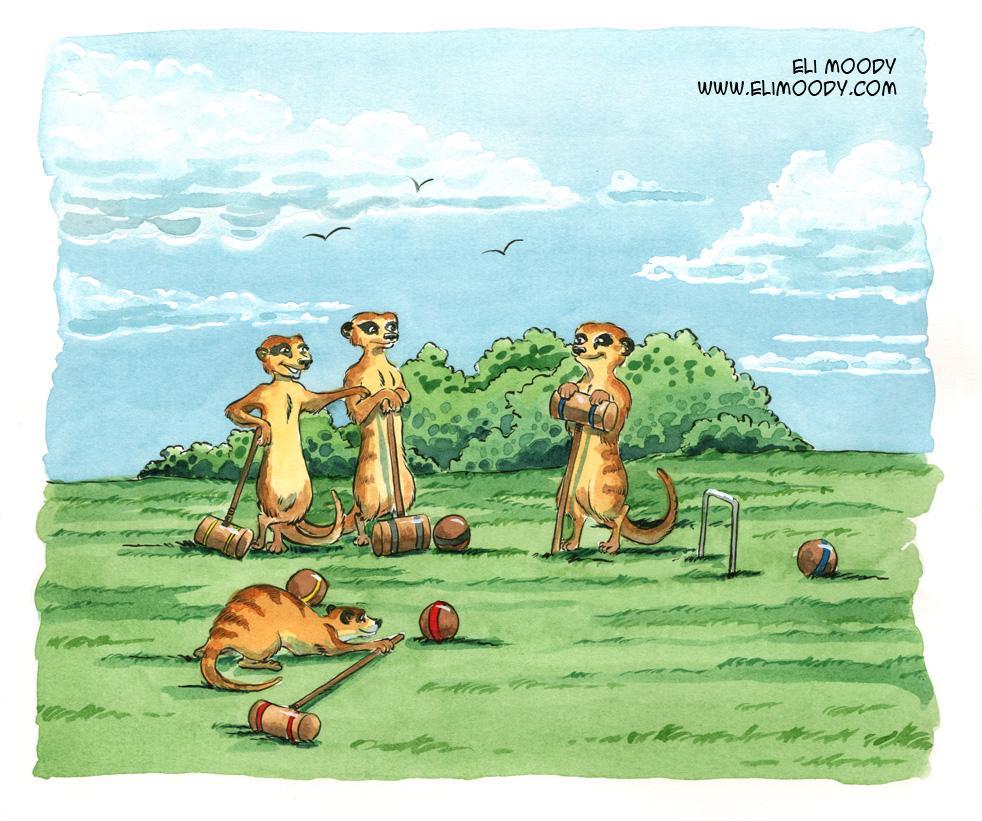 meerkats playing croquet