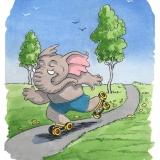 rollerskating elephant