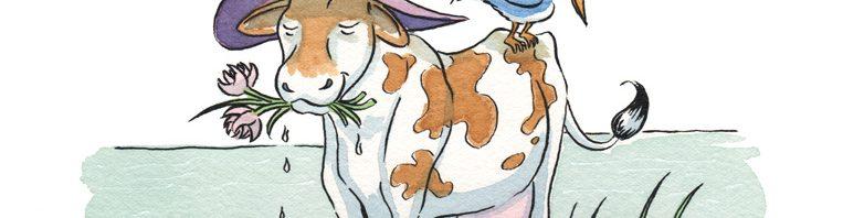 Cow wearing sunhat