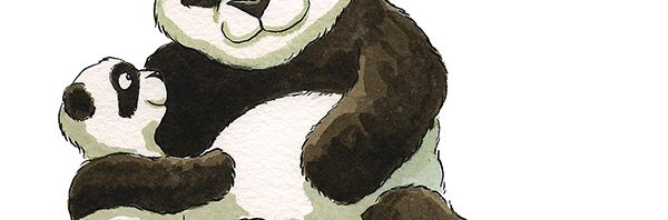 Panda mother and cub