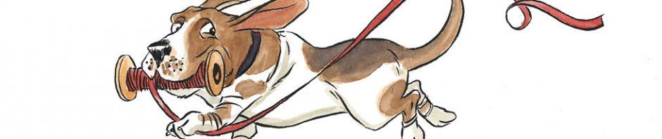 Playful basset hound